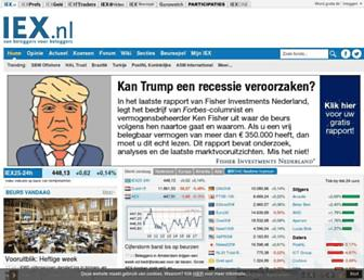 Main page screenshot of iex.nl