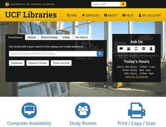 Main page screenshot of library.ucf.edu