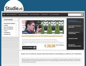 Main page screenshot of studie.nl