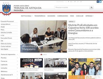 Main page screenshot of tjpb.jus.br