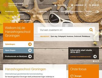Main page screenshot of hanze.nl