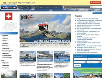 Main page screenshot of bergfex.ch