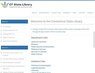 Main page screenshot of ctstatelibrary.org
