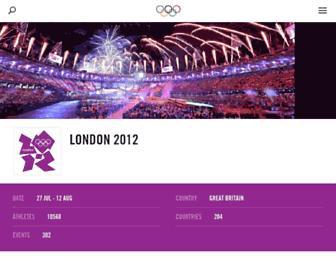 Main page screenshot of london2012.org