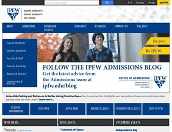 Main page screenshot of ipfw.edu