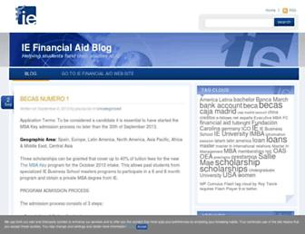 Main page screenshot of financialaid.blogs.ie.edu