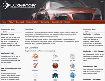 Main page screenshot of luxrender.net