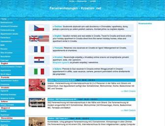 Main page screenshot of ferienwohnungen-kroatien.net