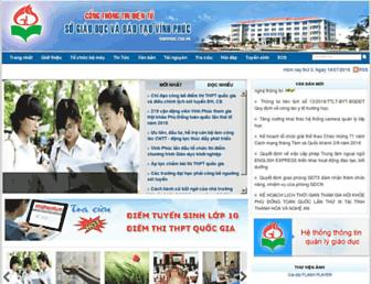 Main page screenshot of vinhphuc.edu.vn