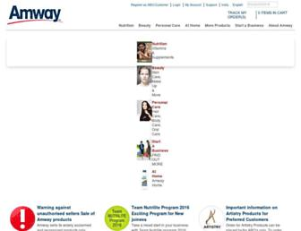 Main page screenshot of amway.in