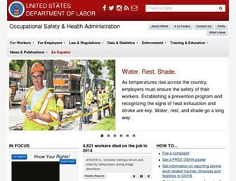 Main page screenshot of osha.gov