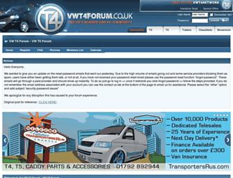 Main page screenshot of vwt4forum.co.uk