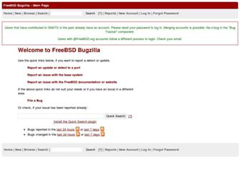 Main page screenshot of bugs.freebsd.org