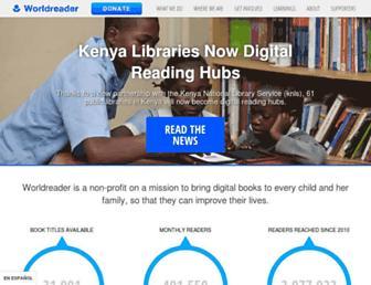 Main page screenshot of worldreader.org