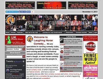 Main page screenshot of laughinghorsecomedy.co.uk