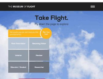 Main page screenshot of museumofflight.org