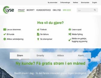 Main page screenshot of lyse.no