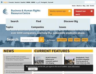 Main page screenshot of business-humanrights.org