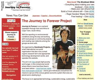 Main page screenshot of journeytoforever.org