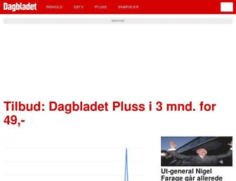 Main page screenshot of dagbladet.no
