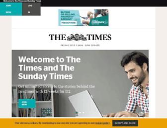 Main page screenshot of sunday-times.co.uk