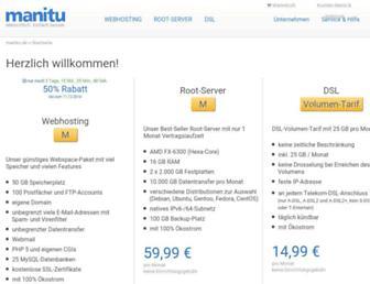 Main page screenshot of manitu.de