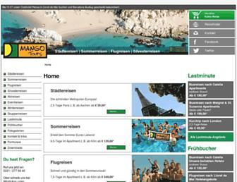 Main page screenshot of mango-tours.de
