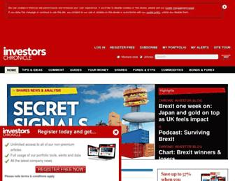 Main page screenshot of investorschronicle.co.uk