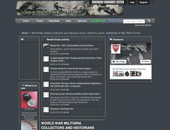 Main page screenshot of warrelics.eu