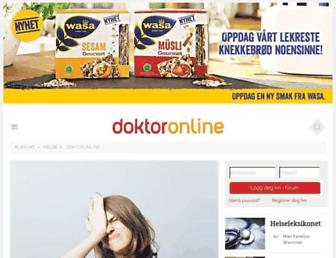 Main page screenshot of doktoronline.no