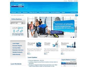 Main page screenshot of english.leumi.co.il