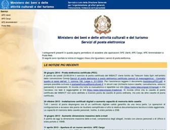 Main page screenshot of ape.beniculturali.it
