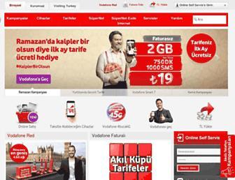 Main page screenshot of vodafone.com.tr