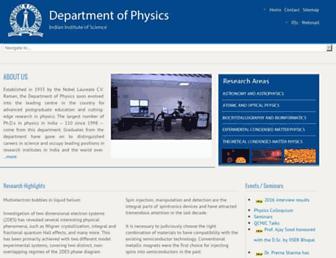physics.iisc.ernet.in screenshot