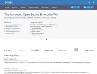Main page screenshot of xwiki.org