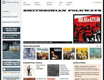 Main page screenshot of folkways.si.edu