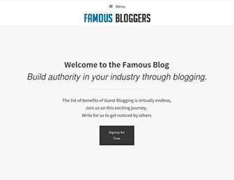 Main page screenshot of famousbloggers.net
