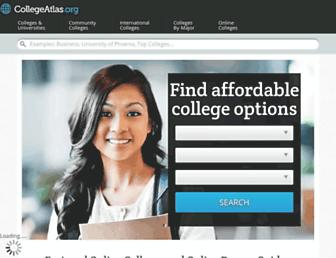 Main page screenshot of collegeatlas.org