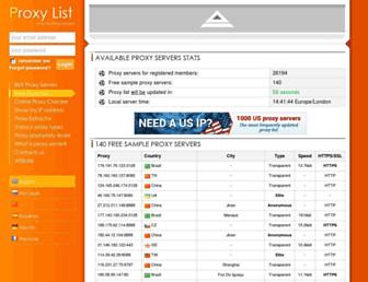 Main page screenshot of proxy-list.org