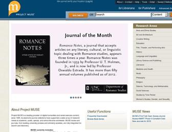 Main page screenshot of muse.jhu.edu
