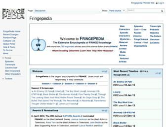 Main page screenshot of fringepedia.net