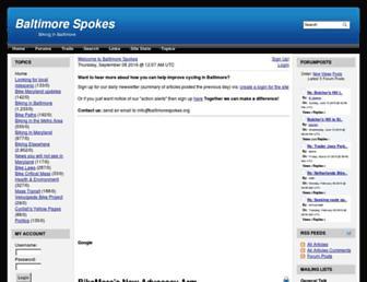 Main page screenshot of baltimorespokes.org