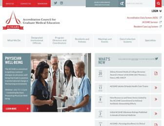 Main page screenshot of acgme.org