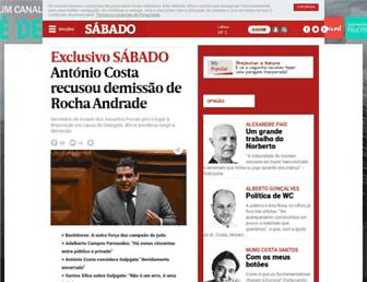 Main page screenshot of sabado.pt
