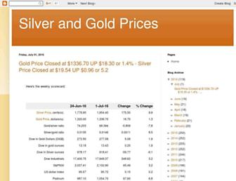 Main page screenshot of silver-and-gold-prices.goldprice.org