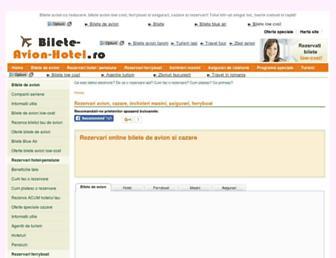 Main page screenshot of bilete-avion-hotel.ro