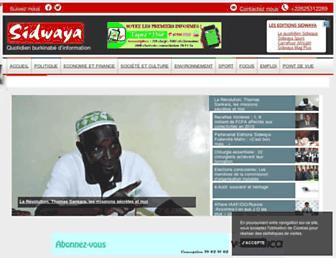 Main page screenshot of sidwaya.bf