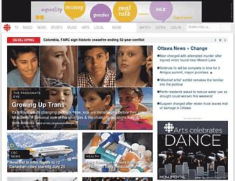 Main page screenshot of cbc.ca