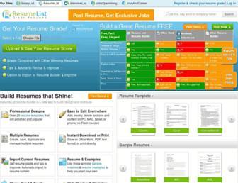 resumelist.com screenshot