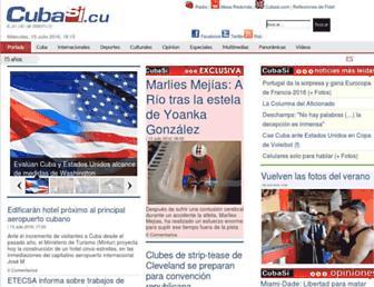 Main page screenshot of cubasi.cu